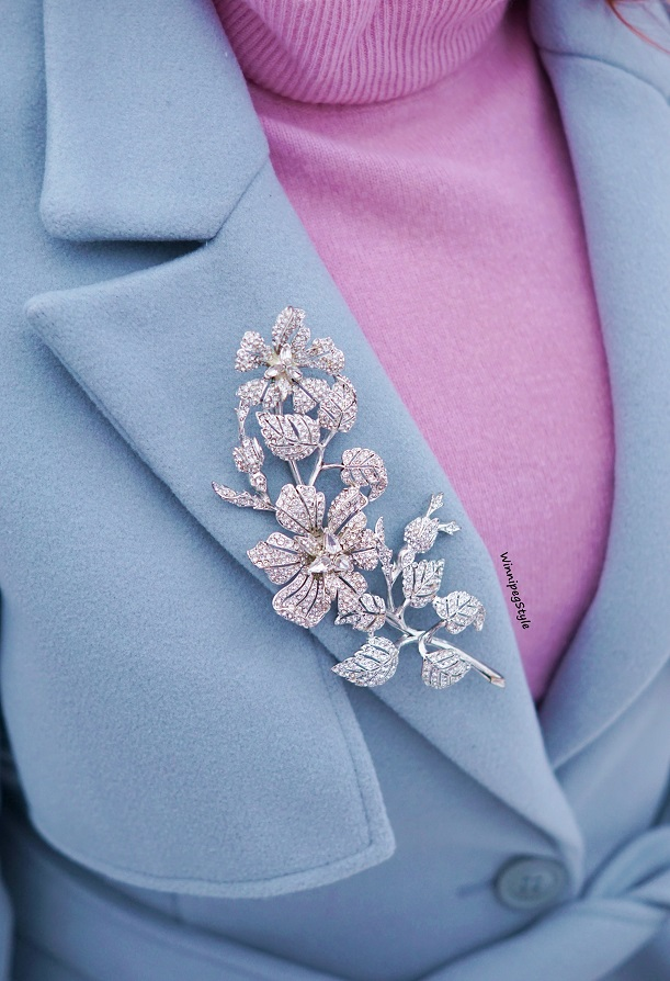 Winnipeg Style Fashion stylist, canadian blogger, Chicwish baby blue Mary Poppins inspired vintage style coat, Flared belted wool blend dress fall winter coat, outerwear, Joan Rivers classics collection statement floral crystal brooch pin