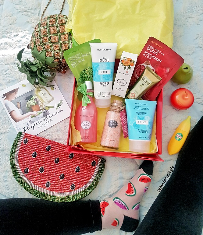 Winnipeg Style Fruits and Passion, Gift box, newest products, Canadian fashion blogger, product blogger, massage oil, bath salts, face masks, body, body butter, home and kitchen