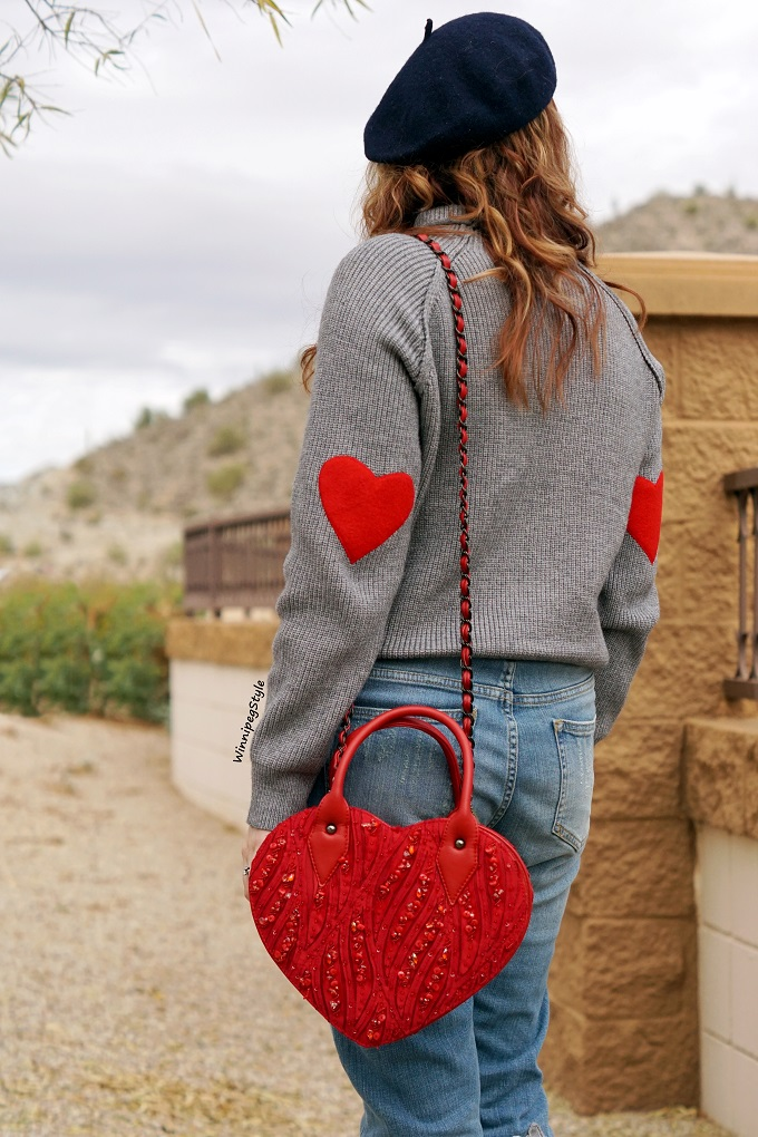Winnipeg Style fashion stylist canadian blog, Chicwish grey sweater jumper red heart patches, Anthropologie Pilcro heart patches patch embroidered denim jeans, Mary Frances red heart novelty bag, John Fluevog LE red malibran operetta mary jane shoes, vacation style Arizona trip