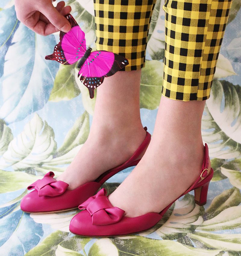 Winnipeg Style, Chie Mihara Baily, fuschia pink slingback shoe, bow, Spring summer 2018