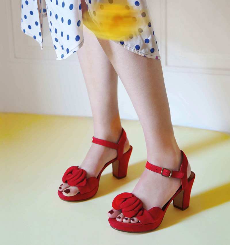 Winnipeg Style, Chie Mihara Blossom, red suede flower ankle strap sandal