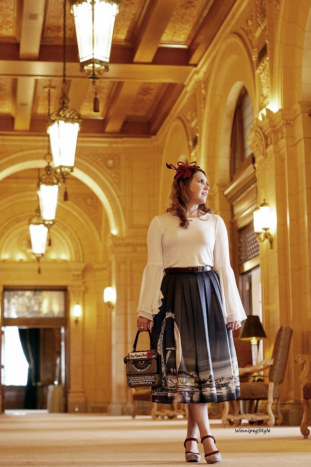 Winnipeg Style, Canadian fashion consultant, personal shopper, fashion stylist, Chie Mihara spring summer 2018 collection, Chie Mihara Tisa, tweed suede leather shoe heel, made in Spain, Mary Frances old fashioned typewriter clutch bag purse, Chicwish London skyline skirt, Winners chiffon draping sleeve top, Fort Garry Hotel Winnipeg, Manitoba