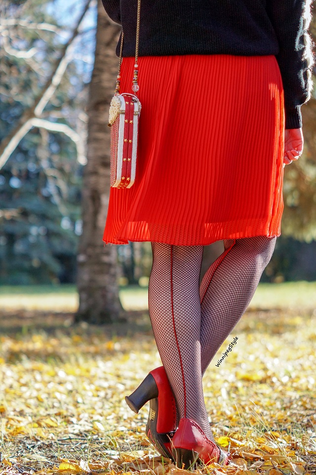 Winnipeg Style fashion blog, Canadian stylist, Mary Frances popcorn beaded handbag, Forever 21 red pleated chiffon skirt, Marilyn Monroe black fishnet red backseam tights, John Fluevog red Hi Choice Vanny shoes