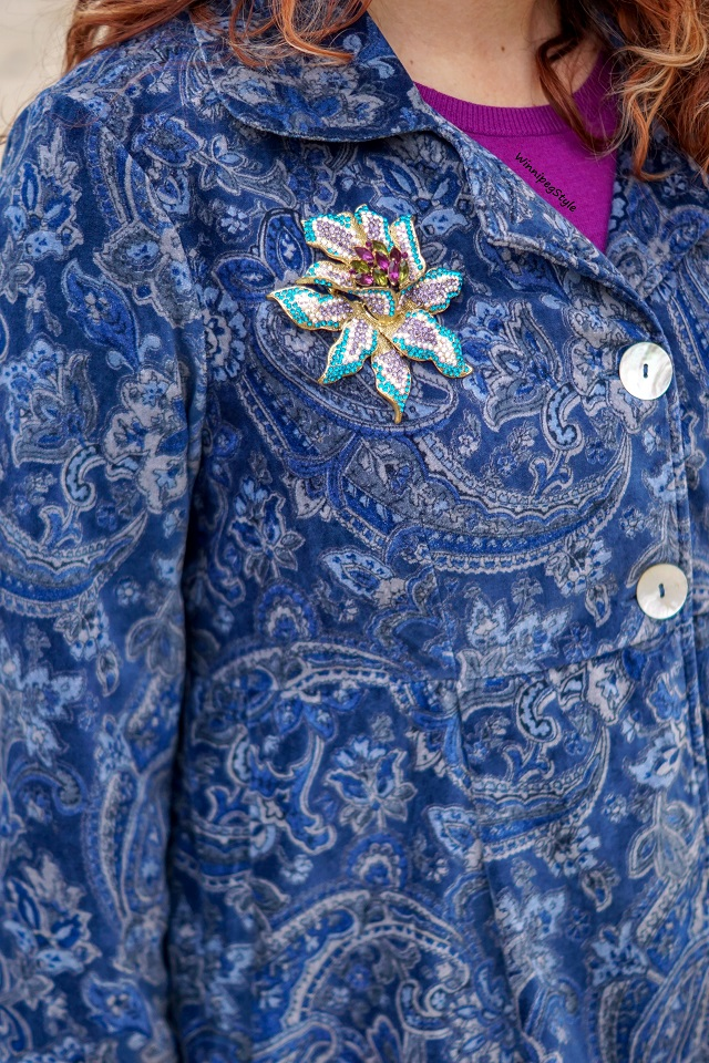 Winnipeg Style, Fashion stylist, canadian blogger, April Cornell Pricillia's paisley blue velvet jacket, Winners bold colored crystal brooch, vintage style