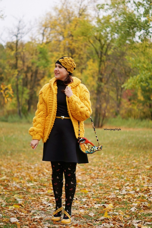 Winnipeg Style fashion blog, Canadian stylist, personal shopper, Chicwish mustard hand knit hooded cardigan, Tabbisocks animal deer rabbit forest friends tights, Mary Frances bright beaded bird handbag novelty bag, Complit wool flower beanie cap hat, John Fluevog Viardot Operetta mustard yellow comfy heels