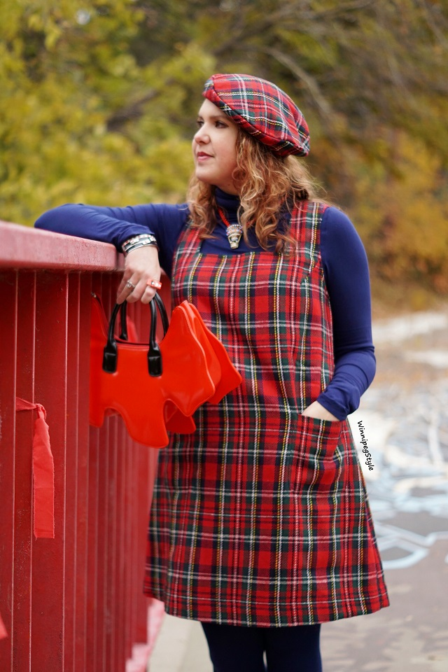 Winnipeg Style Fashion stylist, Canadian style blogger, April Cornell winter red plaid shift jumper dress, April Cornell wool red plaid beret hat, Tabbisocks Narasocks over the knee blue red heart back seam socks, Amliya red scottie dog bag