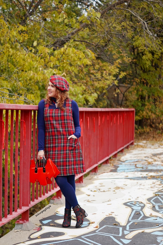 Winnipeg Style Fashion stylist, Canadian style blogger, April Cornell winter red plaid shift jumper dress, April Cornell wool red plaid beret hat, Tabbisocks Narasocks over the knee blue red heart back seam socks, Amliya red scottie dog bag, Topshop embroidered blue red floral ankle boots
