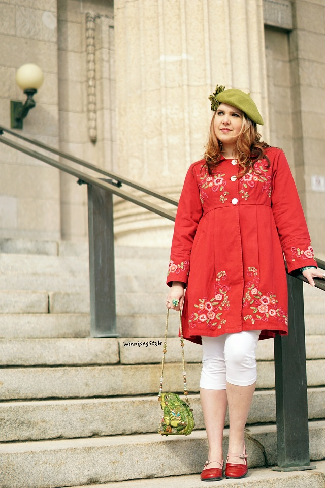 Winnipeg Style Canadian fashion stylist blog, April Cornell Spring 2019 Favorite jacket embroidered red cotton coat, vintage style, April Cornell white tapestry embroidered cropped leggings, April Cornell white crochet detail essential sleeve t-shirt, Mary Frances leap frog beaded novelty handbag purse, John Fluevog red pink LE sandra fellowship mary jane flat shoes