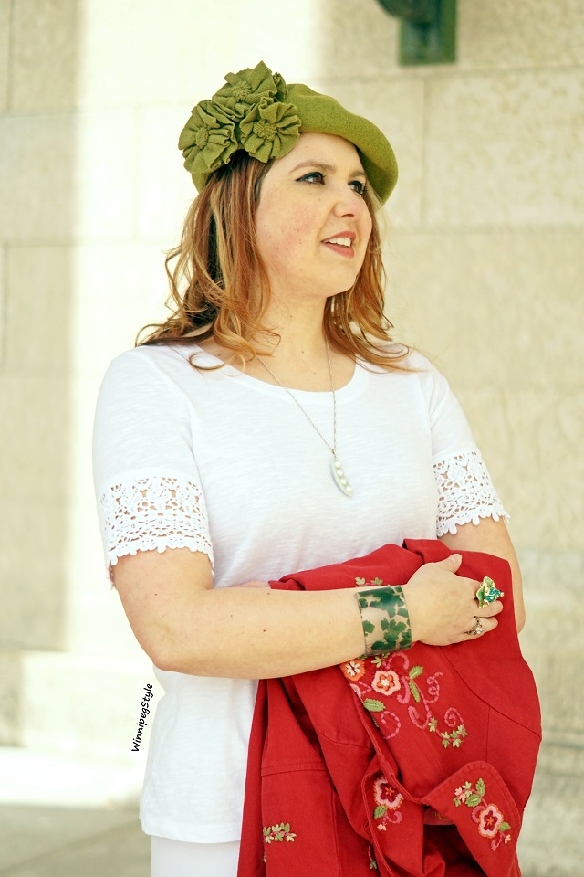 Winnipeg Style Canadian fashion stylist blog, April Cornell Spring 2019 Favorite jacket embroidered red cotton coat, vintage style, April Cornell white crochet detail sleeve essential t-shirt, San Diago Hat co. green wool flower applique beret hat, dconstruct eco friendly resin clover leaf cuff bangle bracelet, Jade and pearls peas in pod necklace