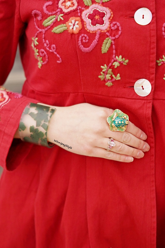 Winnipeg Style Canadian fashion stylist blog, April Cornell Spring 2019 Favorite jacket embroidered red cotton coat, vintage style, Icing frog lily pad enamel ring, dconstruct eco friendly resin clover leaf bangle cuff bracelet