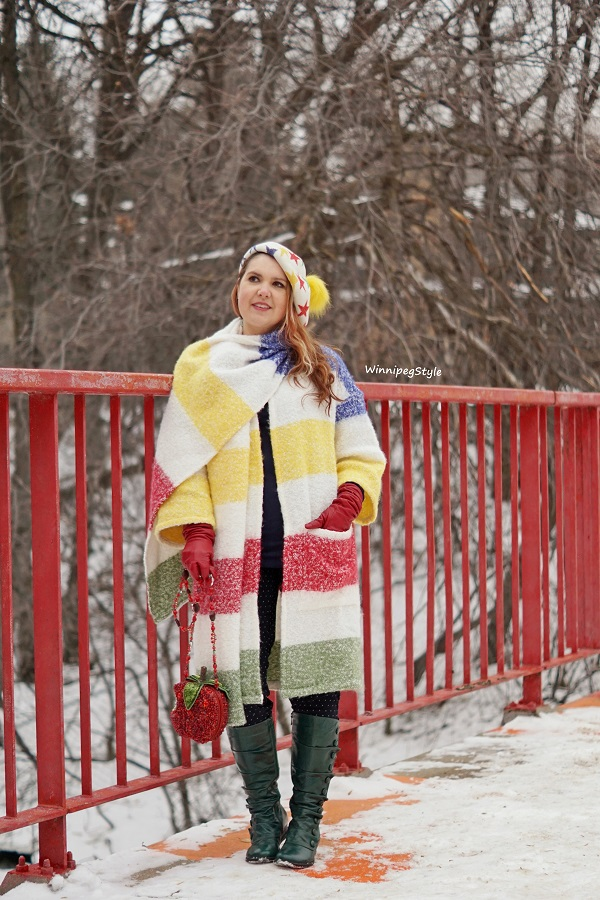 Winnipeg Style, Canadian women's blog, Hudson's Bay HBC x Color Me Courtney stripe boucle jacket scarf, Lurex star pom pom beret, Mary Frances apple bag handbag, Miz Mooz green vintage retro leather boots, Stripe Spotting, Stripespotting
