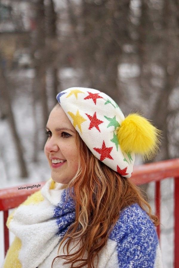 Winnipeg Style, Canadian women's blog, Hudson's Bay HBC x Color Me Courtney Lurex star pom pom beret, Stripe Spotting, Stripespotting