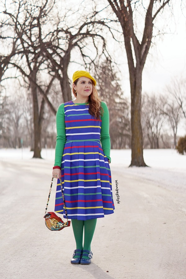 Winnipeg Style, Canadian women's blog, Hudson's Bay, HBC stripes holiday multistripe midi dress, Stripespotting, Stripe spotting. Mary Frances bird bag purse, John Fluevog blue Fiorenza slingback leather shoes LE