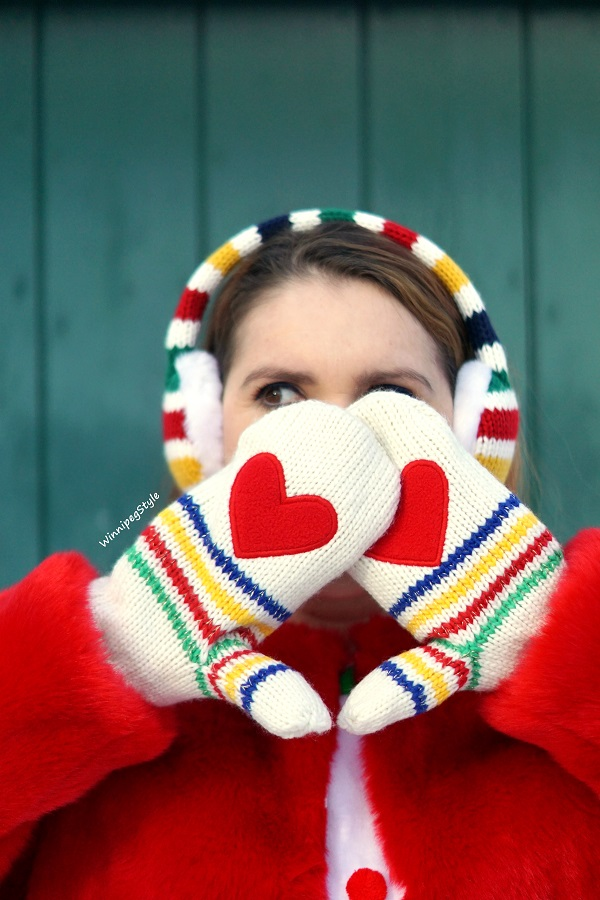 Winnipeg Style, Canadian women's blog, Hudson's Bay, HBC x Color Me Courtney Stripe heart palm mittens, HBC red faux fur stripe jacket, HBC stripe ear muffs, Stripespotting, Stripe spotting