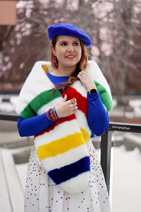 Winnipeg Style, Canadian women's blog, Hudson's Bay, HBC x Color Me Courtney stripe faux fur stole scarf, HBC stripes holiday confetti polka dot white midi skirt, Stripespotting, Stripe spotting