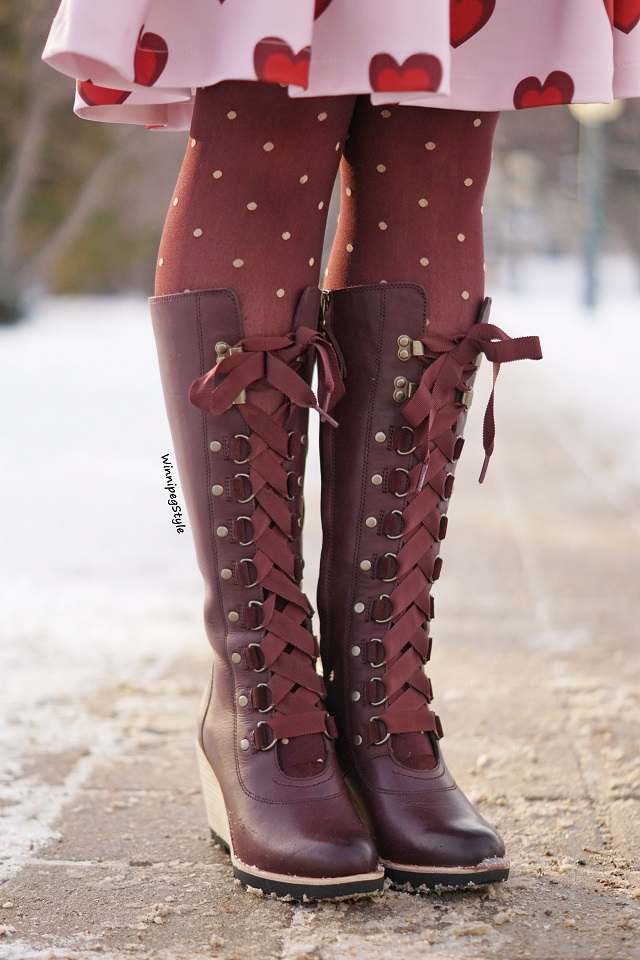Winnipeg Style, Canadian fashion blog, vintage classic style women's fashion, Sorel after hours lace up wine leather wedge knee high boots