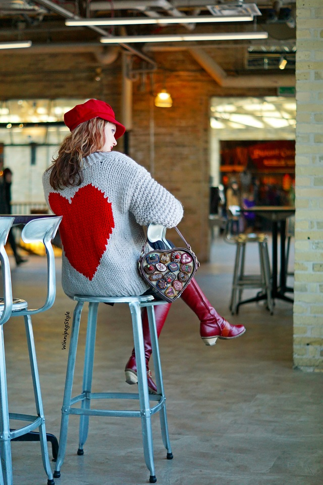 Winnipeg Style, Canadian fashion stylist blog, Chicwish key to my heart chunky hand knit cardigan sweater, Mary Frances Temptations embellished heart shaped box of chocolates candy handbag purse, Dex turtleneck black dress, John Fluevog red Hope Desire knee high boots, Winnipeg Forks Market, modern vintage style