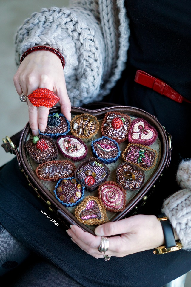 Winnipeg Style, Canadian fashion stylist blog, Chicwish key to my heart chunky hand knit cardigan sweater, Mary Frances Temptations embellished heart shaped box of chocolates candy handbag purse, Swarovski red bangle bracelet, Icing red cystal lip ring, Winnipeg Forks Market, modern vintage style