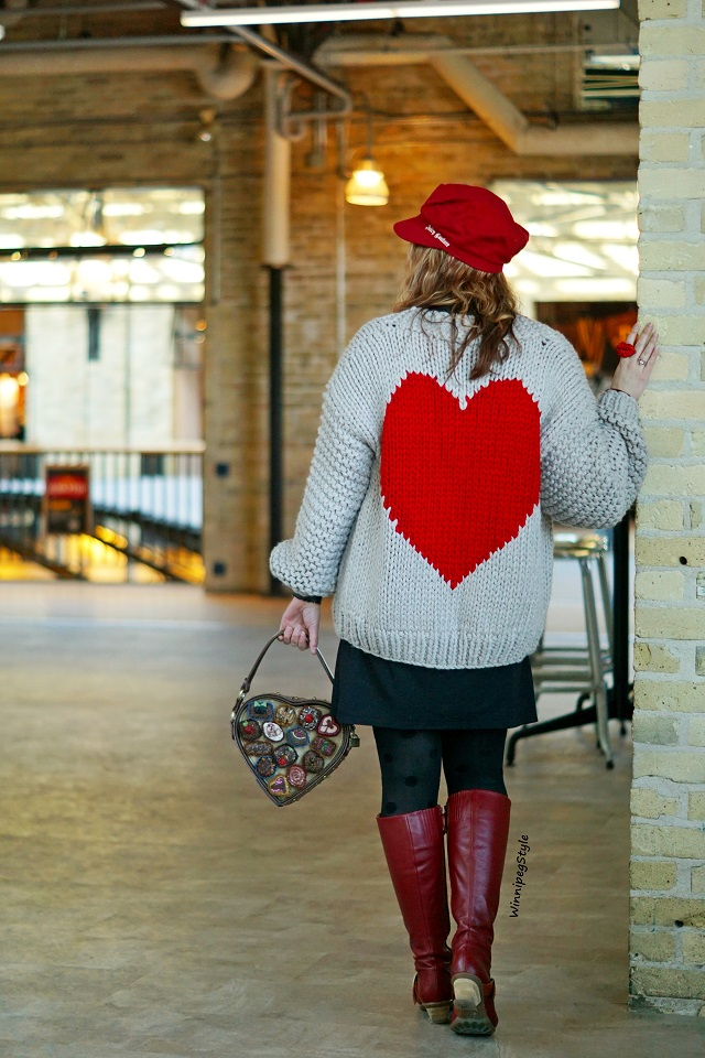 Winnipeg Style, Canadian fashion stylist blog, Chicwish key to my heart chunky hand knit cardigan sweater, Juicy Couture red wool newboy cap hat, Icing red crystal lip necklace, Winnipeg Forks Market, modern vintage style