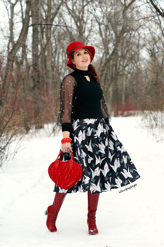 Winnipeg Style, Canadian fashion style blog, Chicwish black white paper crane midi skirt, origami, Chicwish black knit chocker sweater, mesh pearl embellished sleeves, Mary Frances red hearts on fire handbag beaded, red leather knee high Fluevog Operetta Zinka boots