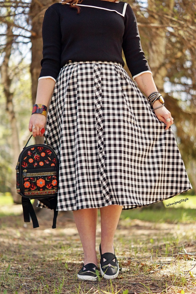 Winnipeg Style, Canadian fashion stylist blog blogger, Chicwish gingham black white check print midi skirt retro high waisted, Chicwish asymmetrical neck summer sweater black white, Mary Frances floral beaded embroidred leather mini backpack, Kate Spade for Keds cat face sneakers