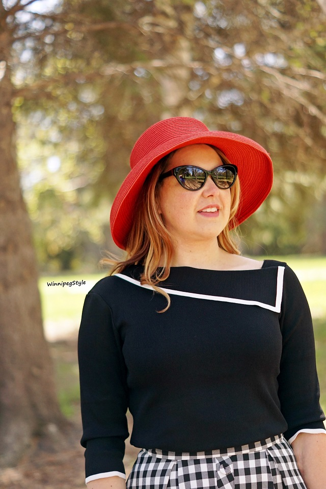 Winnipeg Style, Canadian fashion stylist blog blogger, Chicwish asymmetrical neck summer sweater black white, Vintage style red straw hat Winners