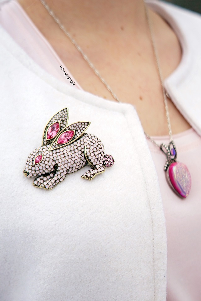 Winnipeg Style Canadian Fashion blog, Heidi Daus bunny opal crystal brooch pin, The Shopping Channel, Silver by Sajen druzy necklace