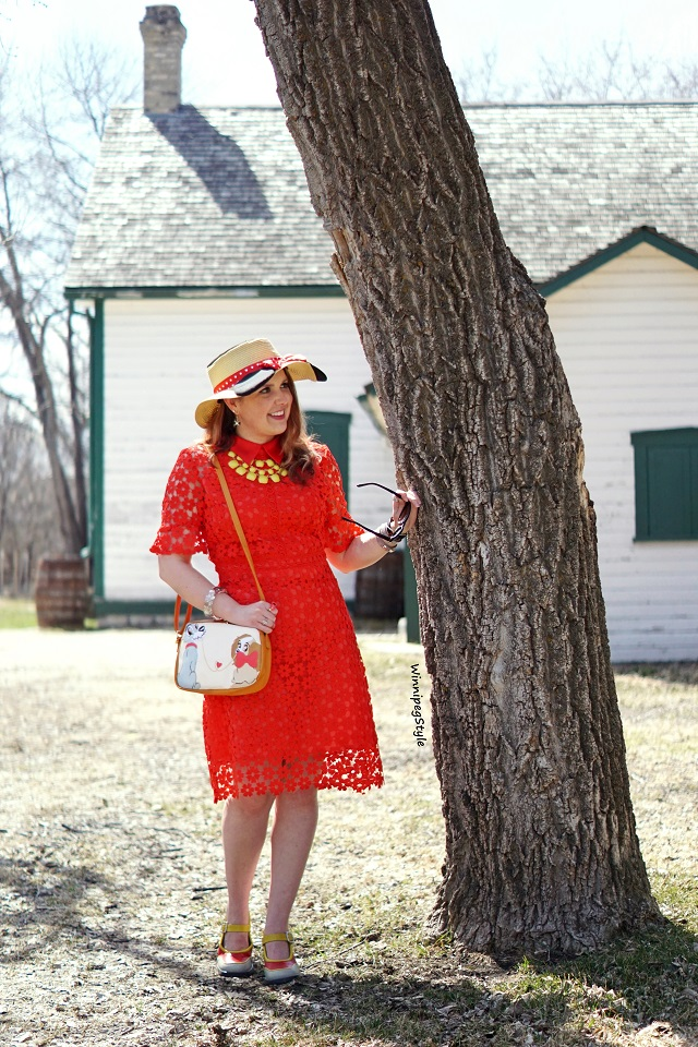 Winnipeg Style, Canadian fashion consultant stylist, Chichwish red crochet shift dress, Disney E hyphen world gallery Minnie Mouse straw ear sun hat, Japan Disney Store shop disney Lady and the Tramp spaghetti bag purse, John Fluevog LE Mini Gorgeous hour glass heel, vintage retro style, women's fashion blog, Reil House national historic site