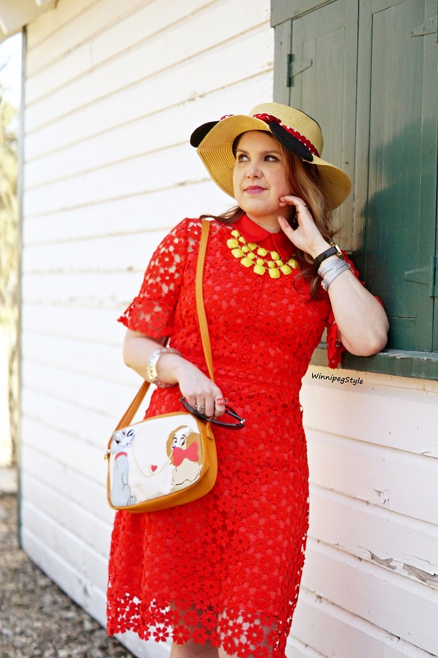 Winnipeg Style, Canadian fashion consultant stylist, Chichwish red crochet shift dress, Disney E hyphen world gallery Minnie Mouse straw ear sun hat, Japan Disney Store shop disney Lady and the Tramp spaghetti bag purse, vintage retro style, women's fashion blog, Reil House national historic site