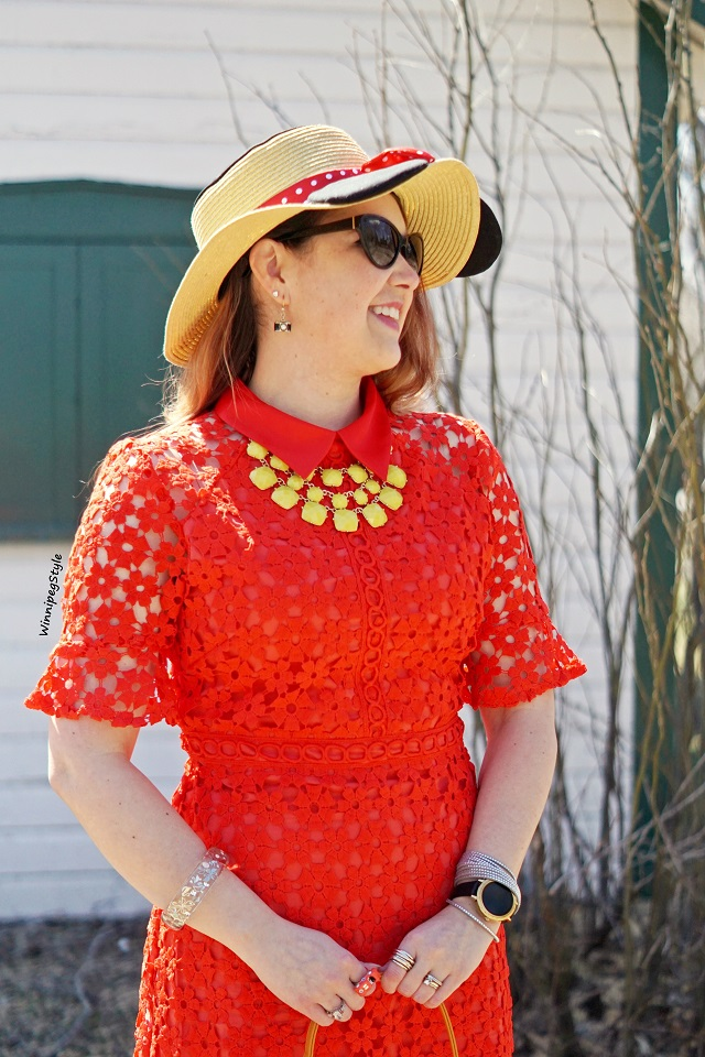 Winnipeg Style, Canadian fashion consultant stylist, Chichwish red crochet shift dress, Disney E hyphen world gallery Minnie Mouse straw ear sun hat, Forever 21 yellow statement necklace, vintage retro style, women's fashion blog, Reil House national historic site