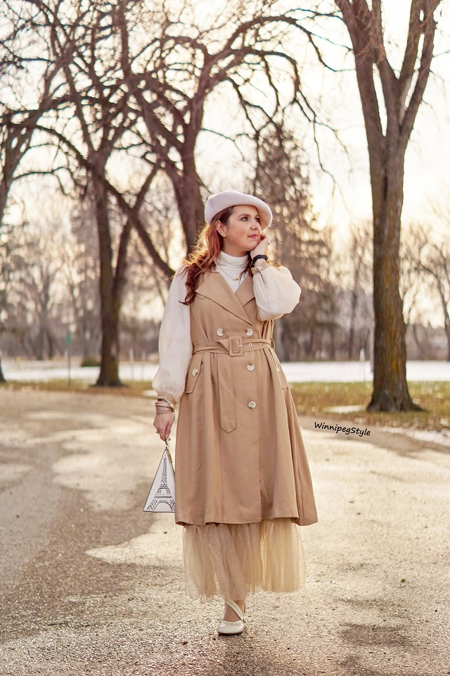 Winnipeg Style, Canadian women's fashion blog, stylist, Chicwish double breasted chiffon sleeve khaki trench dress coat, Chicwish tan pleated mesh sparkle long skirt, Kate Spade eiffel tower handbag, John Fluevog Operetta Viardot heels, vintage style, Canadian winter style