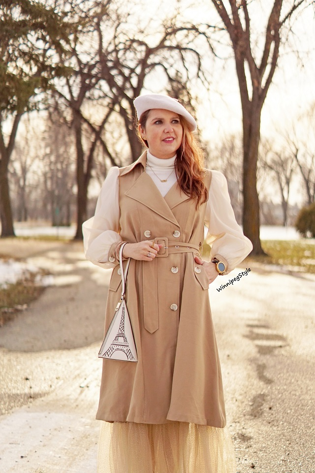 Winnipeg Style, Canadian women's fashion blog, stylist, Chicwish double breasted chiffon sleeve khaki trench dress coat, Chicwish tan pleated mesh sparkle long skirt, Kate Spade eiffel tower handbag, vintage style, Canadian winter style, Parisian style, cream wool beret