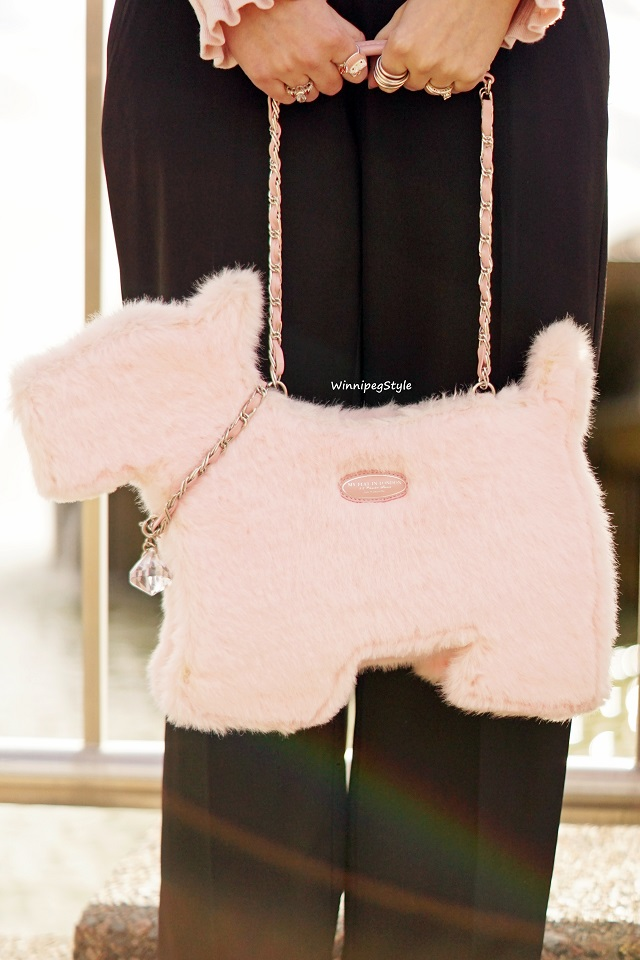 Winnipeg Style, Canadian fashion consultant stylist, Parisian style chic, My Flat in London Brighton pink faux fur scottie dog handbag, black pink combination, everyday chic