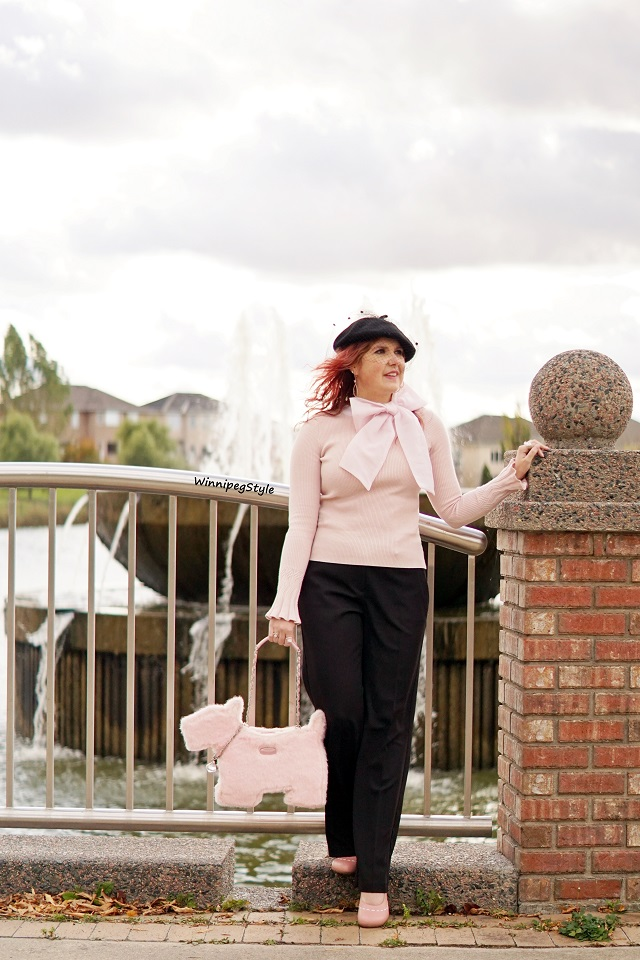 Winnipeg Style, Canadian fashion consultant stylist, Parisian style chic, Chicwish baby pink knit sweater with chiffon bow detail, statement sweater, Something Special black veil beret, My Flat in London Brighton pink faux fur scottie dog handbag, John Fluevog pink Operetta Malibran retro heel, black pink combination, everyday chic