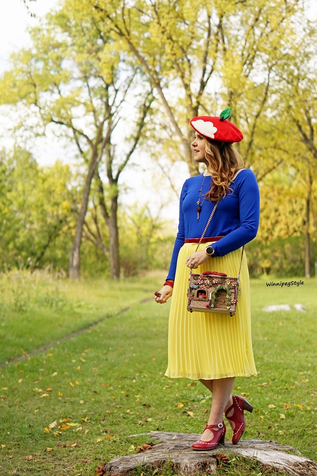 Winnipeg Style, Canadian women's fashion blog, stylist, Mary Frances Disney Collection Collaboration Charmed Cottage house, Snow White and the Seven dwarfs 3D handbag, handmade, Disney Bound, costume idea, Disney Style, Disney Princess, apples, red bow, hobbit, Handmade apple beret Etsy, Forever 21 yellow skirt, Blue Cupio top, John Fluevog red malibran operetta shoes