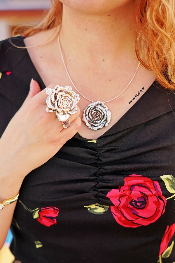 Winnipeg Style modern retro vintage fashion, Zapaka cotton retro black red rose printed fit flare dress, E & L  Electroform sterling silver rose ring Winners, Rose necklace