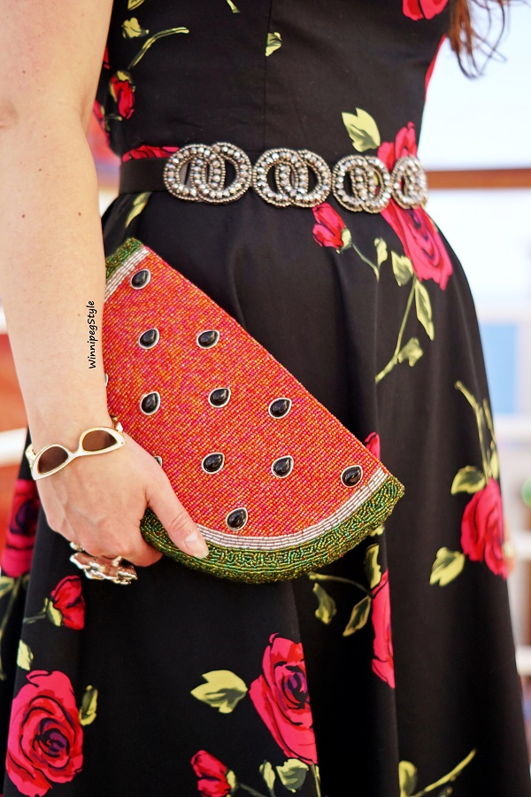 Winnipeg Style modern retro vintage fashion, Zapaka cotton retro black red rose printed fit flare dress, Mary Frances watermelon beaded clutch handbag bag, Kate Spade sunglasses bangle