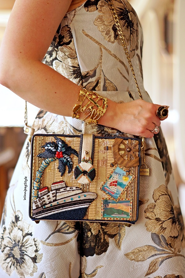 Winnipeg Style, Canadian fashion blog, classic vintage style, Chicwish golden metallic jacquard midi dress, Mary Frances cruise boat Get Away novelty theme bag, Disney Couture Kingdom Alice in Wonderland tea party silverware cuff, Carnival Horizon cruise Caribbean