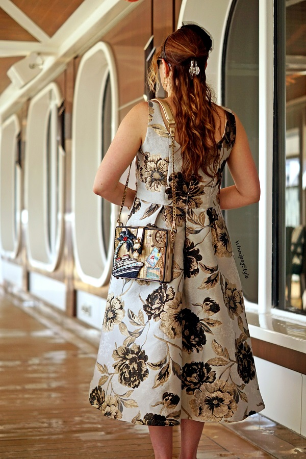 Winnipeg Style, Canadian fashion blog, classic vintage style, Chicwish golden metallic jacquard midi dress, Mary Frances cruise boat Get Away novelty theme bag, Carnival Horizon cruise Caribbean