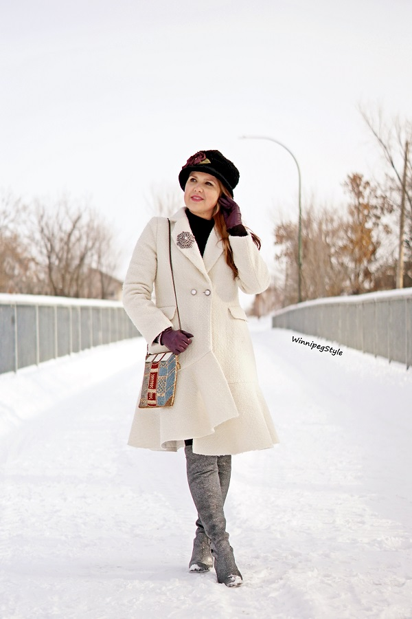 Winnipeg Style, Canadian fashion blog, vintage classic style, Chicwish Asymmetrical frill tweed winter white coat, Mary Frances book beaded handbag, Unisa over the knee metallic silver sparkle boots, Toucan collection wool bucket hat, winter style, Canadian winter style