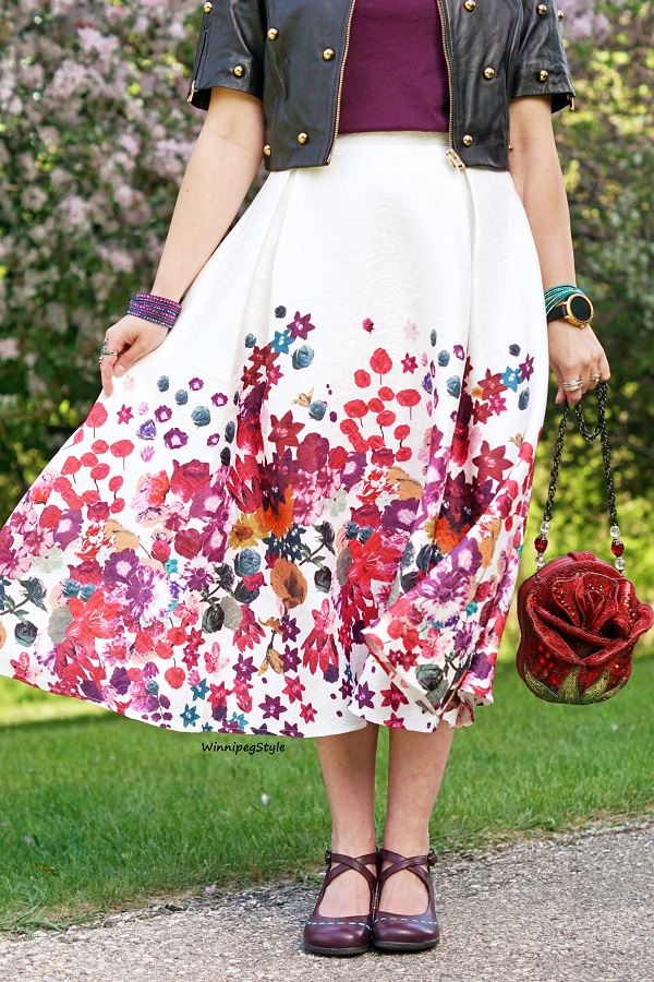 Winnipeg Style, Canadian women's fashion blog, trendy, modern vintage, Chicwish floral embossed midi skirt, Mary Frances 3d red rose beaded novelty handbag purse, classic, cherry blossoms, Fluevog Malibran