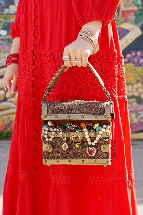 Winnipeg Style women's fashion style blog, Chicwish bright red crochet embroidered max dress, Mary Frances Accessories novelty Treasure chest bag purse, Classic style, retro, Walls of Winnipeg mural