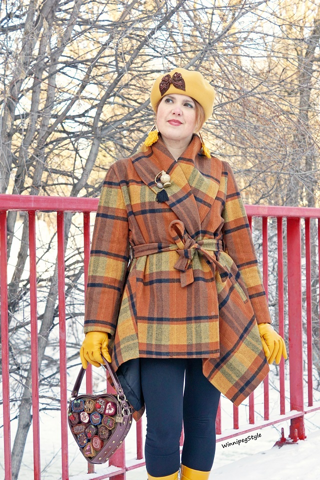 Winnipeg Style, Canadian Fashion blog, Chicwish plaid wrap wool coat, Mary Frances chocolate heart box novelty purse bag, Galliano Sorbatti mustard yellow wool hat, Nique Rayne macrame earrings, Parisi mustard yellow leather gloves