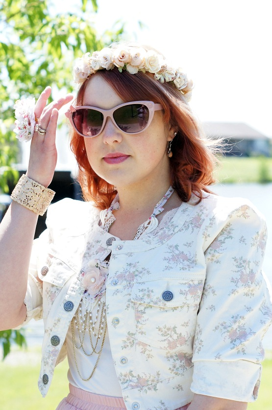 Winnipeg Fashion Blog, Canadian Fashion Blog, Jessica Simpson cropped cream floral print denim jean jacket, Arianne peach lace cami, Forever 21 pink chiffon maxi skirt, Vintage floral flower crown, Ardene pink sunglasses, Claire's ribbon drapeed victorian necklace, Claire's flower ribbon ring, Vintage beaded floral flowere handbag, Forever 21 rose bangle, Fluevog Mini Sweet Pea pink ribbon tie slingback leather shoe