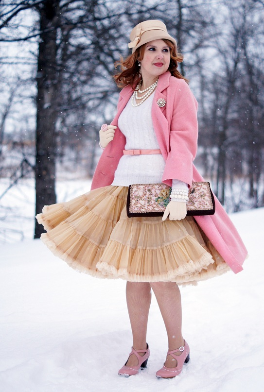 Winnipeg Fashion Blog, Canadian Fashion blog, The Ruby Slipper Vintage Shoppe Winnipeg D'Allaird's pink wool winter coat, Lord & Taylor cream gold v-neck cable knit cashmere wool sweater, Rhymes with Orange Winnipeg Vintage beige tan petticoat crinoline skirt, Forever 21 pink patent bow belt, Stella & Dot gold crystal brooch pendant pin, Stella & Dot cream white crystals pearls, Vintage beige tan cream Etsy MintGreen bow bucket hat, Vintage cream tan beige gloves, Icing pink white rose stretch bracelets, Icing pink rose ring, Vintage Caron embroidered velvet brown pink flower oversized clutch, Fluevog baby pink white patent leather maryjane heels