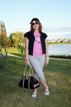 Everyday Outfit for June 16, 2012, Juicy Couture pink Chateau Couture tee, Kenneth Cole black vest, Reitmans grey cuffed capris, BCBGirls handbag, Wayne Clark enamel crystal snake bangle, Vintage Charmer black beanie wool hat, Fluevog taupe white Fellowship Kathy spat leather flats