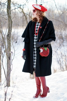 Everyday Outfit for February 1, 2013,  Vintage Reine de Laine black wool hair sleeve overized open coat jacket, Joe Fresh houndstooth print pocket dress, Etsy handmade bitten red apple wool beret hat, Winners red coral necklace, Mary Frances First Bite red apple bitten crystal embellished clutch shoulder handbag purse bag, Anne Klein tights, red apple vintage pin, Danier leather black leather opera length long gloves, Fluevog Operetta Zinka red patent leather knee high boots, Expression red enamel stretch bracelet, Claire's red apple ring