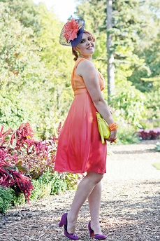 Everyday Outfit for September 18, 2012, INC International Concepts Ombre silk red orange sunset dress, Jacques Vert purple orange red feather flower fascinator, Adia Kibur neon pink stone silver necklace and earrings, Neon orange stretch bracelet, Danier neon yellow leather clutch purse, Fluevog purple suede Miracle Cana pumps heels