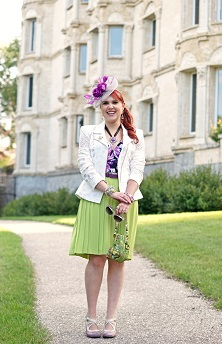 Everyday Outfit for August 29, 2014, Vedette Shapewear Stella purple floral shaping swimwear, BCBG Max Azria white lace Boe moto jacket blazer, Banana Republic lime green pleated skirt, Jacques Vert purple grey feather fascinator, Mary Frances Lily Pad Frog beaded clutch bag, Amethyst silver earrings, Purple turquoise necklace, John Fluevog purple Pearl Hart Bellevue pumps shoes