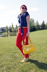 Everyday Outfit for May 15, 2012, Jessica Sears silk navy tie blouse, Express red cropped ankle pants, Danier yellow leather skinny belt, Nine West burgundy knit beret, Nine West yellow patent handbag purse, Yellow Fluevog sandra fellowship flat leather shoes